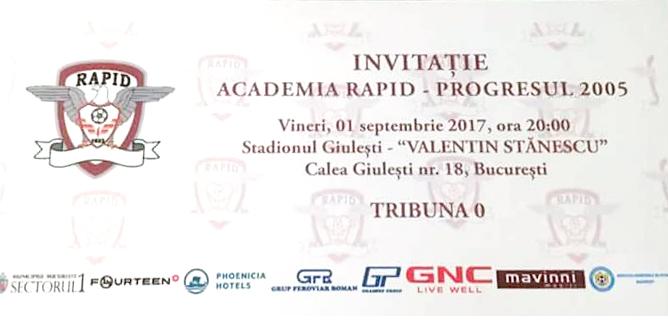 Invitație Academia Rapid