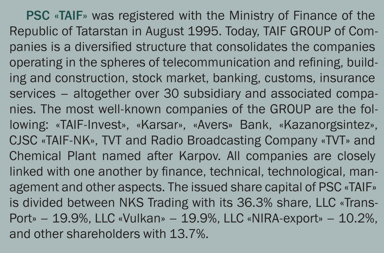 Tatar American Investments & Finance (TAIF)