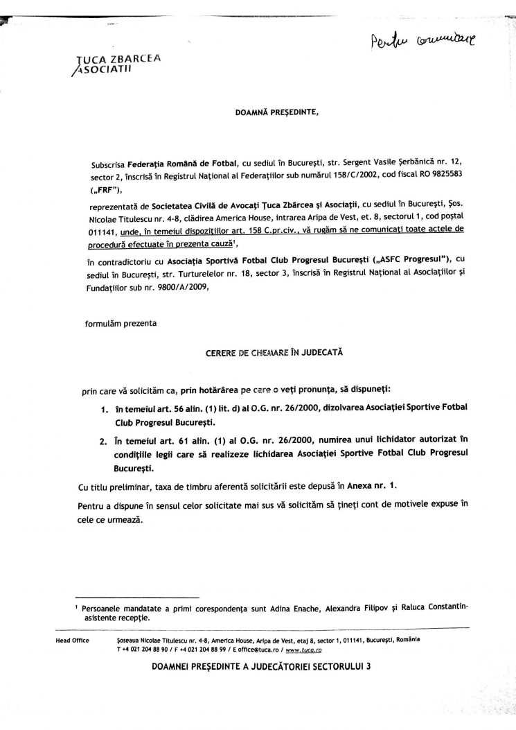 Prima pagină actiune FRF dizolvare Progresul